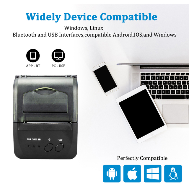 NETUM NT-1809DD 58mm Bluetooth Thermal Receipt Printer for Android IOS Windows AND 5890T RS232 Port Receipt Printer POS Portable 2