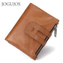 JOGUJOS Genuine Leather Men Rfid Clutch Wallet Zipper&Hasp Male Portomonee Short Coin Purse Credit Card Holder Wallet For Man
