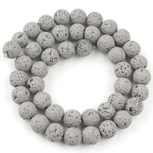 Rubber Grey Lava Stone Beads Natural Volcanic Rock Round Loose Bead For Jewelry Making Diy Women Charm Bracelet 4/6/8/10mm 15