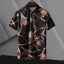 Summer new short-sleeved men's digital printing men's T-shirt lapel high-quality mercerized cotton short-sleeved t-shirt