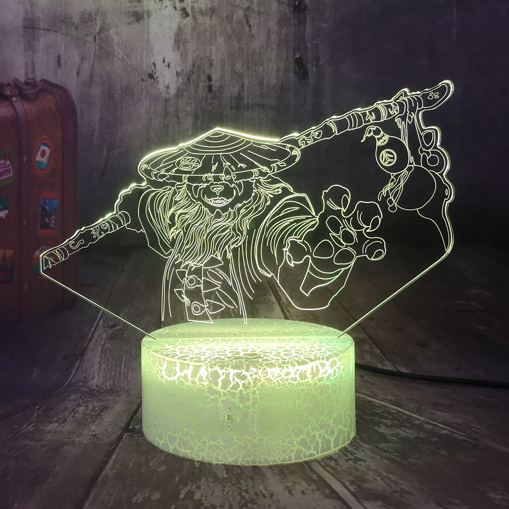 World Of Warcraft Mists Of Pandaria 3D Illusion LED Night Light Crackle White Base Desk Lamp Bedroom Decor Christmas Gift Heroes