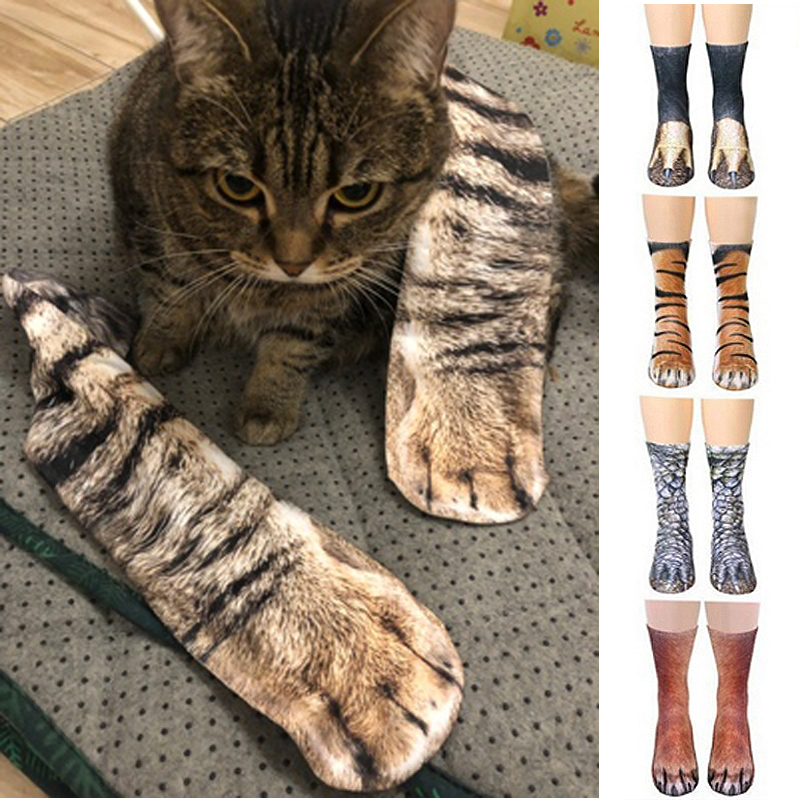 Fashion Unisex Adult Women Men 3D Printed Cotton Socks Cute Cats Claws Ankle Short Socks For Kids Cartoon Funny Animal Paw Sock