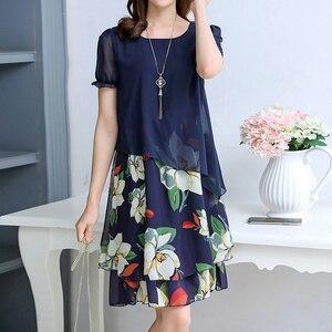 Летнее шифоновое платье 2020, женское Повседневное платье с коротким рукавом и круглым вырезом, платье с цветочным принтом размера плюс 5XL, Но...