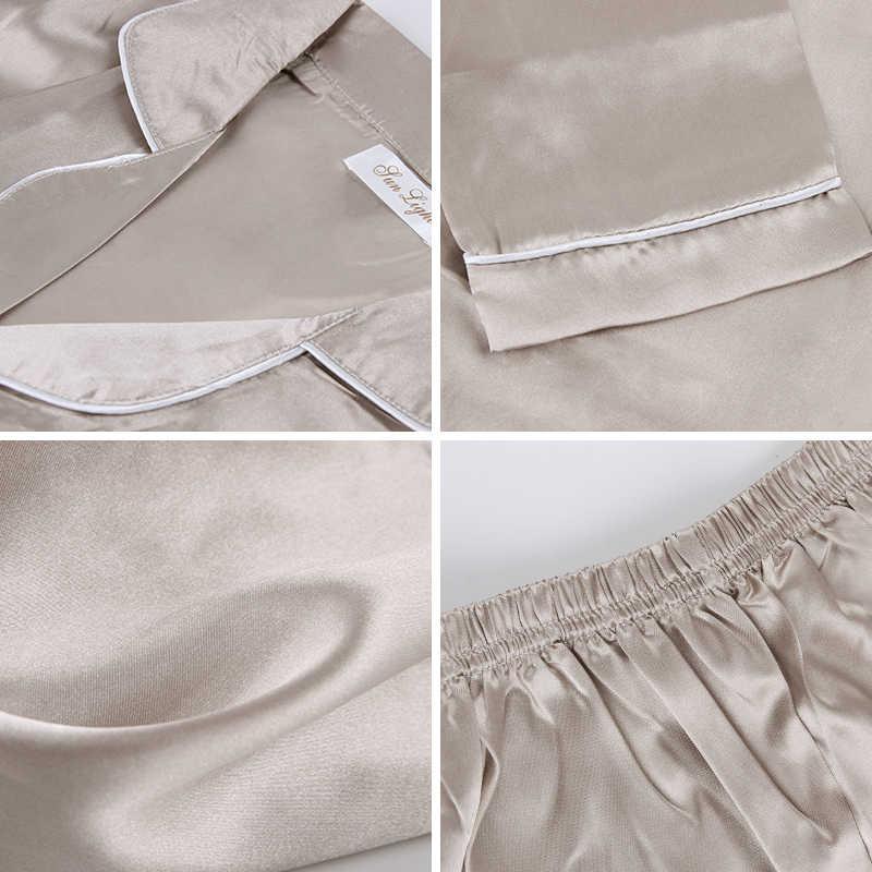 JULY'S เพลง 2 ชิ้นผู้หญิงฤดูใบไม้ร่วงชุดนอน Faux Silk ชุดนอนซาตินชุดนอนแขนยาวชุดนอนชุดนอนหญิง Homewear