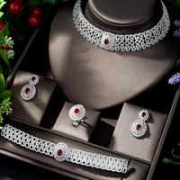 HIBRIDE Luxury Geometry Dubai Jewelry Sets Nigerian Wedding African Beads Bridal Jewellery Set Cubic Zircon Necklace Set N 1207