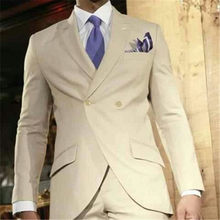 Hot Sale Khaki Men Suits For Wedding Tuxedos Masculino 2 Pieces(Jacket+Pants+Tie) Custom Made Latest Design Men Suit(China)