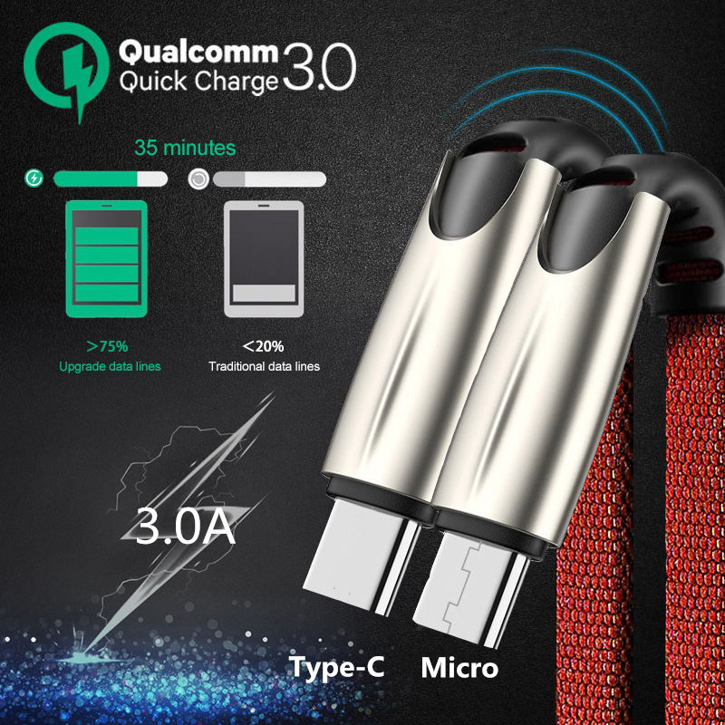 Oppselve Micro Type C Cable 3 0A Mobile Phone Fast Charging 2M 3M for Samsung Redmi Tablet Android micro USB Cable Charger Cord in Mobile Phone Cables from Cellphones Telecommunications