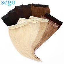 Заколка для волос SEGO, 16-22 дюйма, 80-100 г, цельный зажим для волос, 100% натуральные человеческие волосы для наращивания, 5 зажимов, Remy, натуральные ...