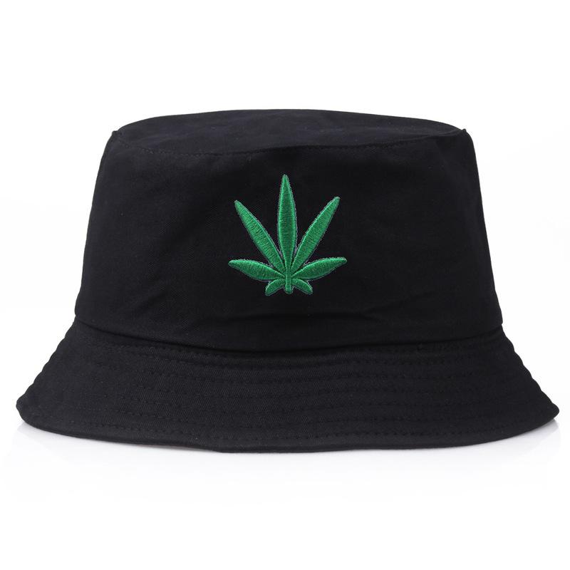 Men Women Maple Leaf Bucket Hat Hip Hop Fisherman Panama Hats Embroidery Cotton Outdoor Summer Casual Swag Bob Visor Bucket Cap