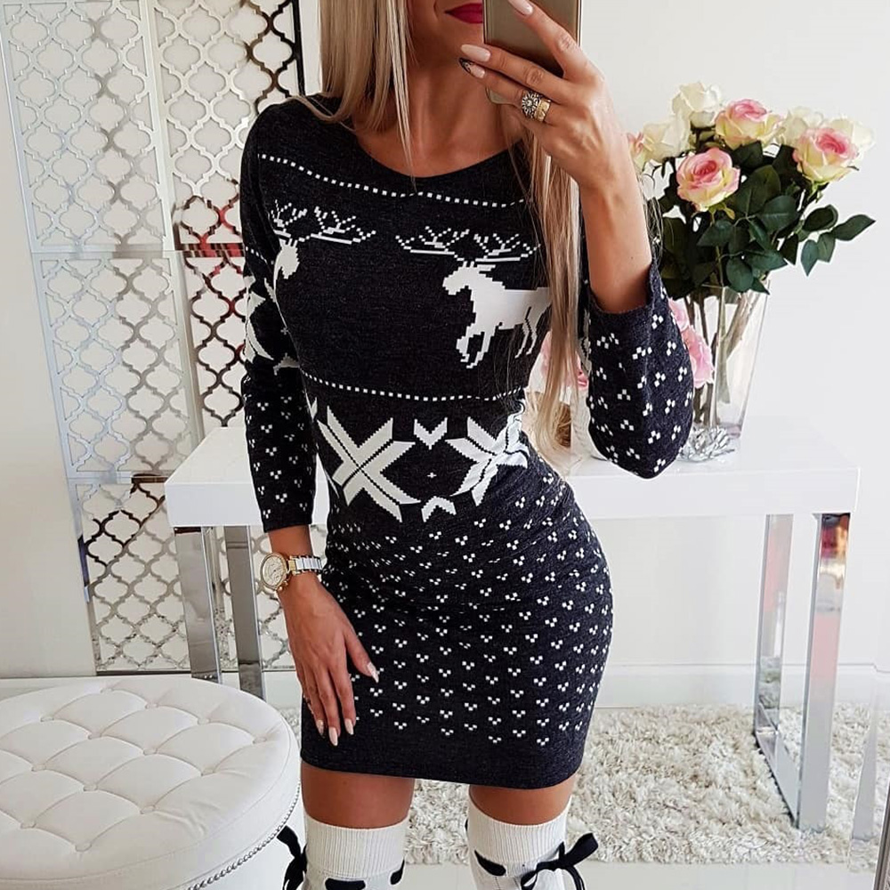 Women Winter Christmas Dress 2019 New Casual Ladies Bodycon Dress Long Sleeve Mini Dresses Xmas Autumn Women Clothes D25