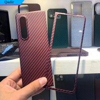 QADIR-Funda de fibra de carbono para Samsung Galaxy Z Fold 3, material de armadura de fibra de carbono auténtica ultrafina para Z Fold3