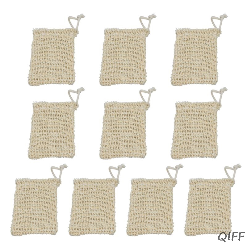 10 Pack Sisal Soap Bag Natural Soft Exfoliating Mesh Soap Bar Pouch Saver Holder