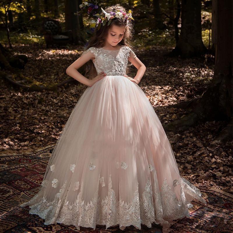 Blush Flower Girl Dresses For Weddings Ball Gown Cap Sleeves Tulle Lace Beaded Long First Communion Dresses For Little Girl