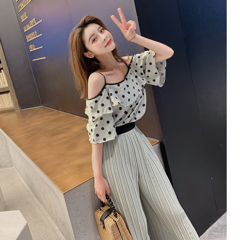 Customizable Women's 2019 Summer New Style Polka Dot Top Shirt With Narrow Straps + High-waisted Pleated Casual Loose Pants Two-