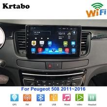 รถวิทยุเครื่องเล่นมัลติมีเดีย Android สำหรับ Peugeot 508 2011 ~ 2016 Touch Screen GPS Navigation สนับสนุน CarPlay Bluetooth