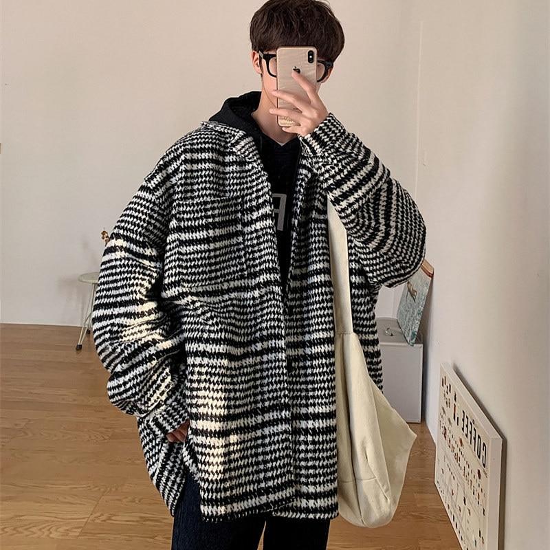 Зимнее шерстяное пальто, мужская мода, Ретро стиль, Повседневная Длинная шерстяная куртка, Мужская Уличная одежда, Свободное пальто