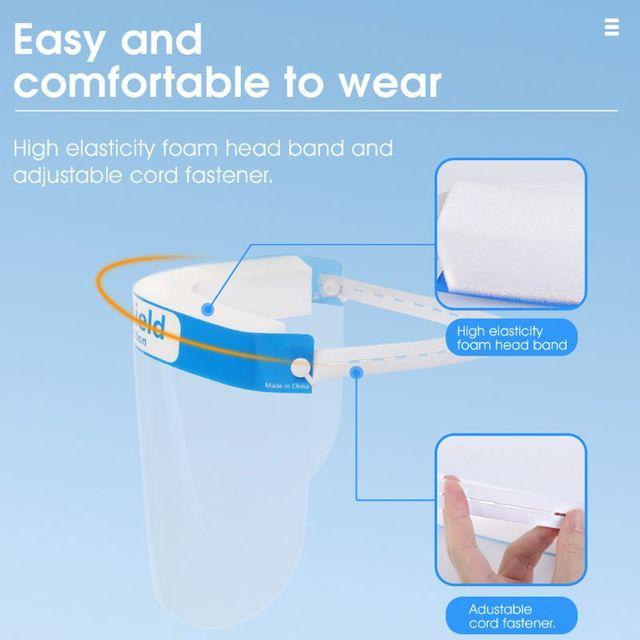 Full Face Protective Shield Visor Plastic Adjustable Transparent Face Shield to Prevent Saliva Adult Children 5