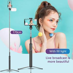 Image 1 - Handheld Hidden Bluetooth Tripod 3 in 1 Selfie Stick w/ Beauty light Extendable Selfie timer Fill Light for iPhone Samsung Phone