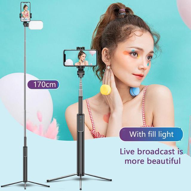 Handheld Hidden Bluetooth Tripod 3 in 1 Selfie Stick w/ Beauty light Extendable Selfie timer Fill Light for iPhone Samsung Phone