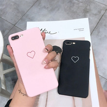New Men Women Sweet Love Heart Couple Frosted Hard PC Back Cover Cute Protection Phone Case for IPhone X XS 6 6S 8 Plus 7 7Plus
