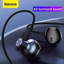 Baseus H19 Bedrade Oortelefoon In-Ear 3.5Mm 6D Stereo Bass Bedrade Koptelefoon Hifi Oortelefoon Met Microfoon Voor Xiaomi samsung Huawei Hoofdtelefoon
