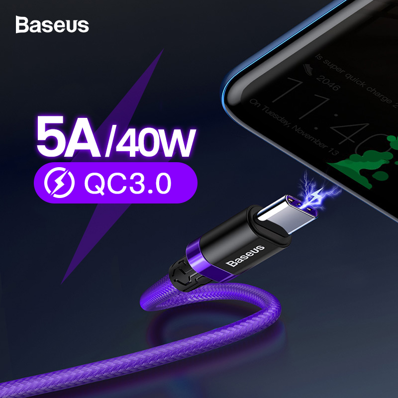 Baseus 5A USB Type C Cable For Huawei Mate 20 P30 P20 Pro Fast Charging Charger USBC Type C Cable For Samsung S10 Xiaomi mi 9 8-in Mobile Phone Cables from Cellphones & Telecommunications on AliExpress