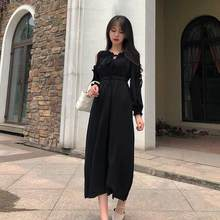 Women Winter 2020 Autumn Dress Black Elegant Lady Dress Full Sleeve Maxi Dress Women Dress robe femme DC544(China)