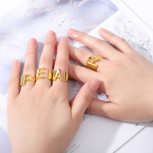Minimalist Female A-Z Letter Metal Ring Charm Silver Gold Filled Engagement Ring Fashion Opening Wedding Rings For Women Girls vintage adjustable a z letter metal ring female jewelry gothic charm gold ring fashion opening wedding band rings for women girl