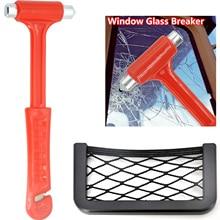 Emergency Escape Tool Car Self-Help Safety Hammer with Paste Net Storage Bag Fire Knock Window Breaker Rescue Seat Belt Cutter