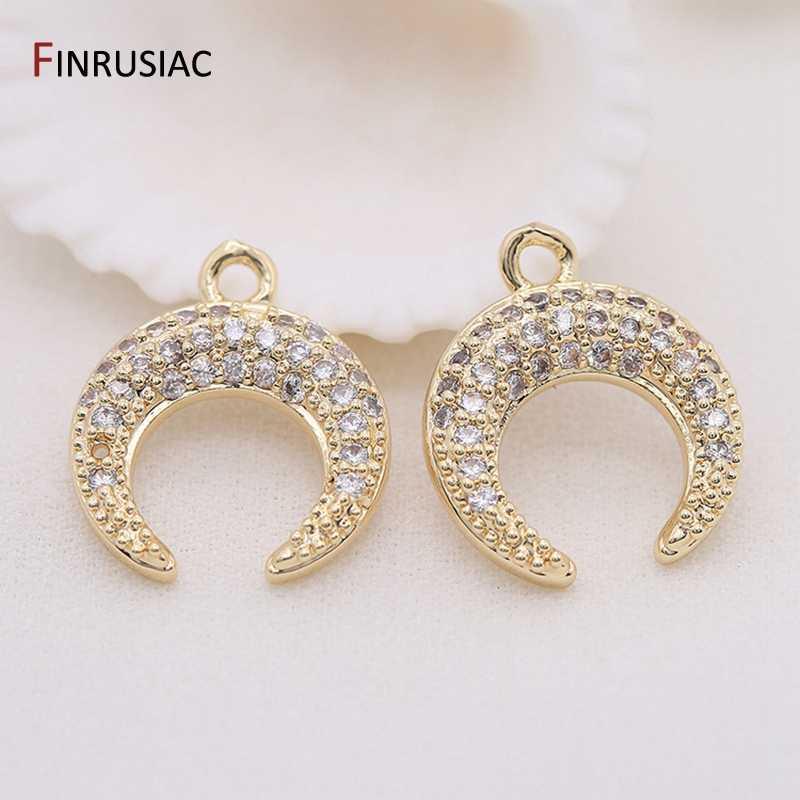 FAI DA TE monili che fanno zircone luna pendente di fascino Europeo di modo fatti a mano di perline collana pendente accessori