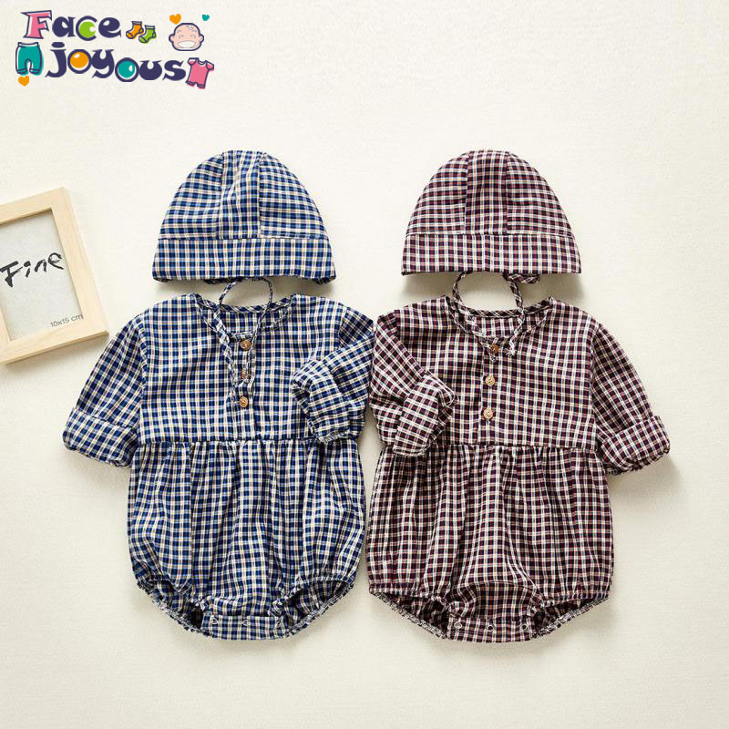 2020 Spring Newborn Baby Girl Bodysuit Kids Boys Long Sleeve Plaid Print Bodysuit With Hat Infant Toddler Jumpsuit Outfits