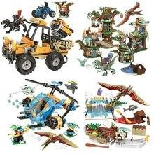 Jurassic mundo dinossauro parque conjunto com 8053 8052 8051 8050 8049 8048 modelo blocos de construção tijolos com brinquedo presente para crianças