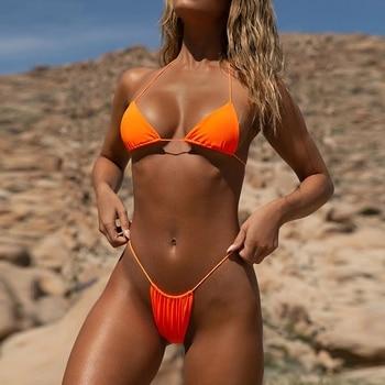 New G String Bikini Brazilian Swimwear  Summer Beach Bathers Women Sexy Micro Mini Bikini Set Brazil Thong Bottom 04# women s sexy leopard strap mini bikini string shoulder strap split swimsuit sexy thong beach bikini set