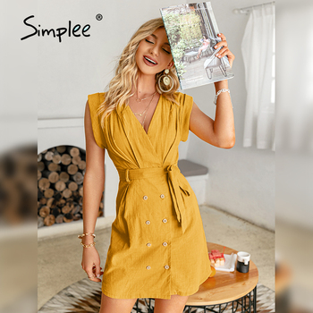 Simplee Solid High Waist Double Breasted Women Dress 2021 Summer Casual V-neck Sleeveless Dress Elegant Lace-up Short Vestidos 1
