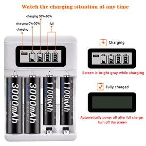Image 5 - الجملة USB شاحن سيارة الذكاء 4 فتحات شاشة الكريستال السائل شاحن بطارية ل AA/AAA بطاريات قابلة للشحن