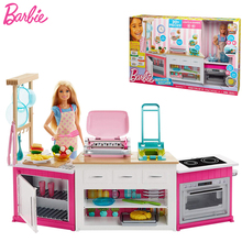 Original Barbie Doll Toy Cooking Kitchen for Barbie House Toys Girls Barbie Furniture Baby Toy Doll Toys for Girls Brithday