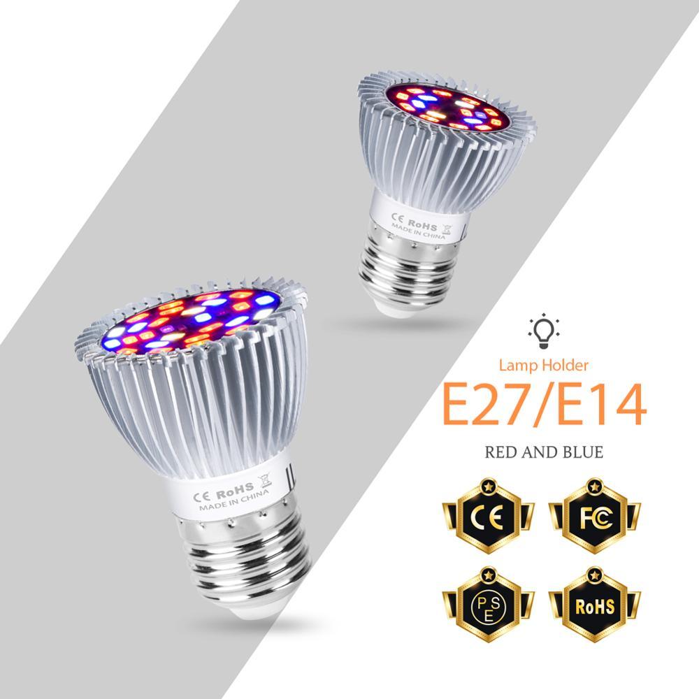 Grow LED Light E27 Plant LED Lamp Double Head 18W 28W Grow LED Full Spectrum Bulb Hydroponic Lamp Phyto LED Indoor Growing Light