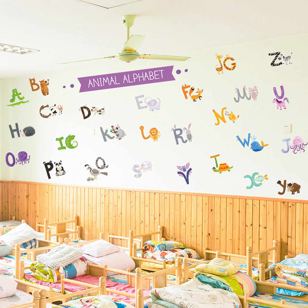 Photo Decoration In Room Animal Alphabet Abc Kids Wall Stickers Peel For Kids Nursery Room Decor Home Room Decoration Vinyl Non Toxic Size 2129cm