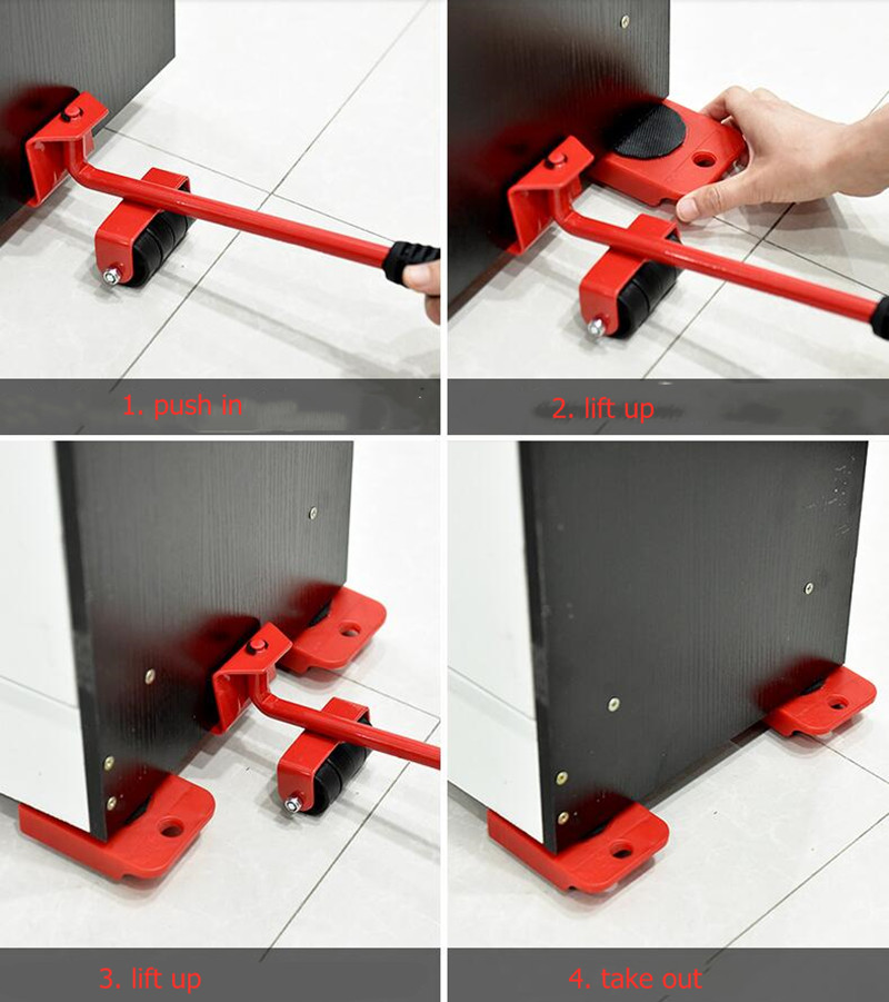 5pcs/set Furniture Moving Transport Set Heavy Artifacts Large Tools Mover Pulley Transport Lifter Household Hand Tools