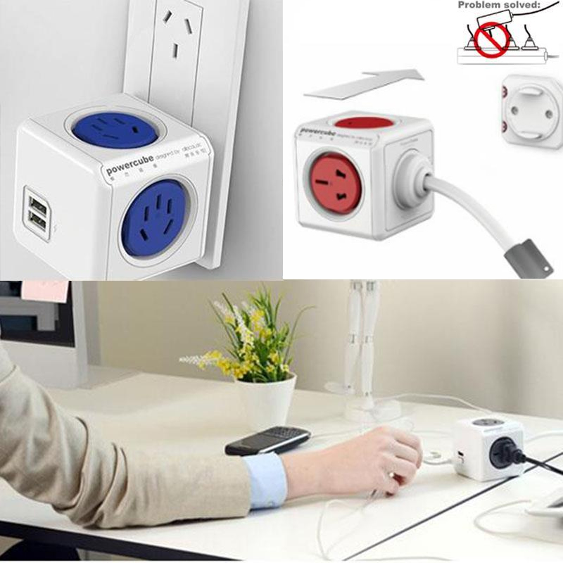 Power Cube Socket USB Ports Adapter Switched Socket Expandable Multifunction