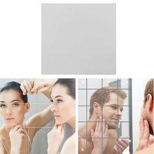 16 шт съемное квадратное гибкое зеркало наклейки на стену домашний декор нестеклянное зеркало E7CB