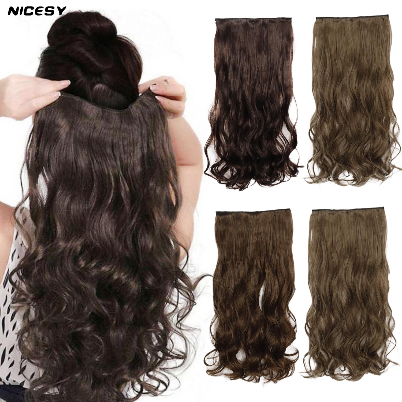 NICESY длинные волнистые синтетические удлинители волос с зажимом 22 дюйма коричневые черные золотые женские волосы 5 зажимов высокотемперату...