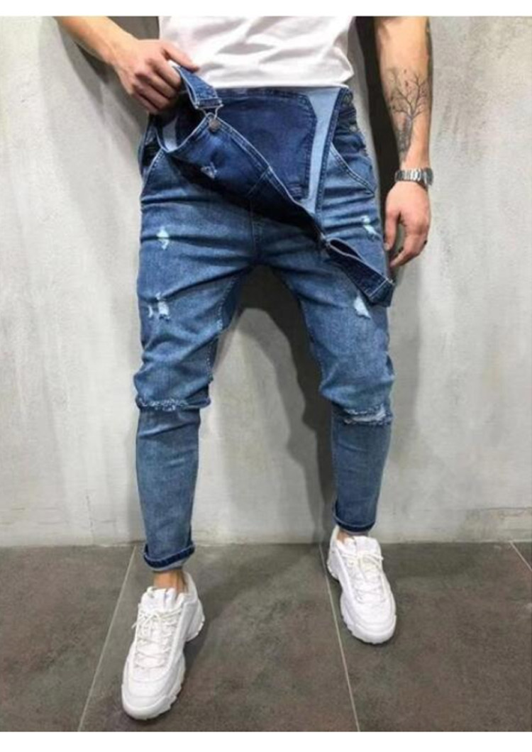 Men's Ripped Jeans Jumpsuits Work Coveralls Denim Bib Overalls For Male Retro Jeans Summer Sleeveless Protection Repairman (6)