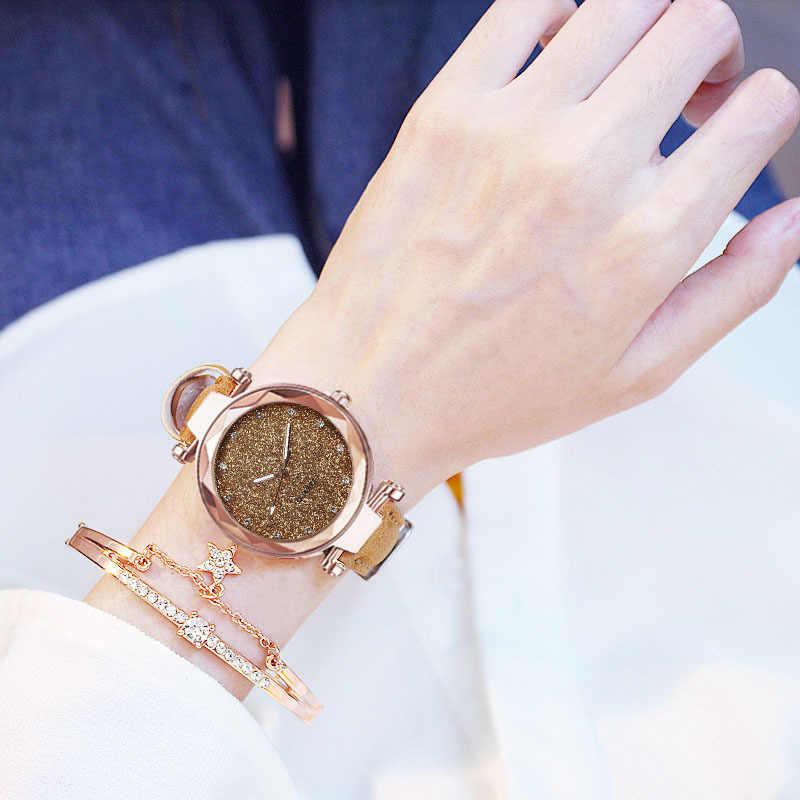Kadın İzle Rhinestone romantik yıldızlı gökyüzü kol saati moda bayanlar deri İzle saat kadınlar için Relogio Feminino Montre Femme