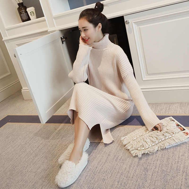 Robe pull coréen femmes chandails tricotés robes femmes sur-genou robe pull grande taille fendu col roulé chandails robes OL robe longue femme robe moulante femme