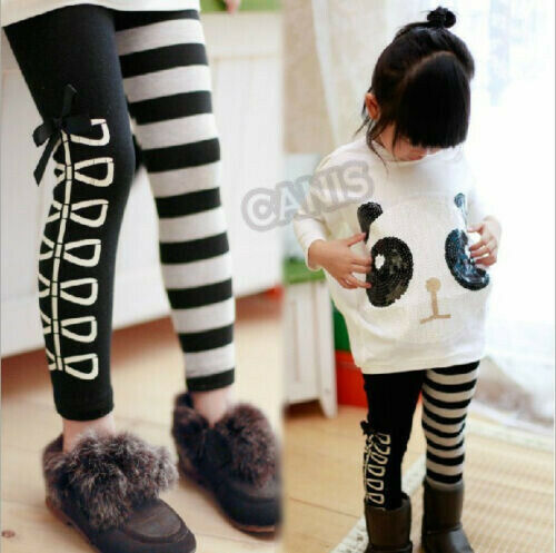 US Kids Baby Girls Outfits Long Sleeve Cute Panda Tops+Striped Pants 2Pcs Sets
