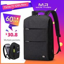 مارك رايدن حقيبة ظهر جديدة للرجال 15.6 بوصة حقيبة لابتوب سعة كبيرة حقيبة ظهر بتصميم غير رسمي حقيبة ضد الماء