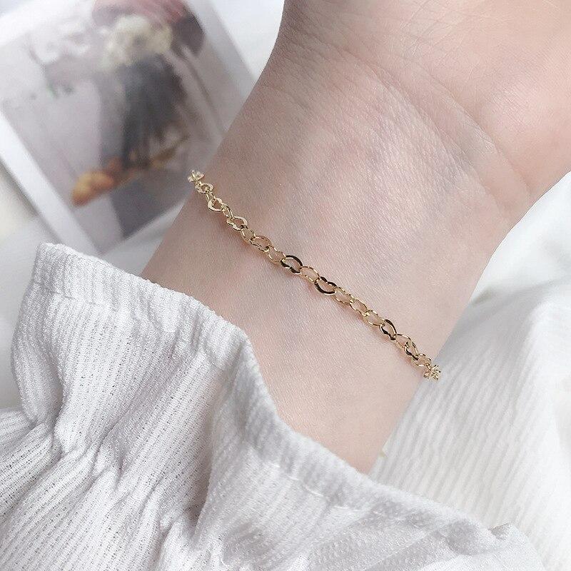 Silvology 925 Sterling Silver Chain Heart Bracelets Elegant Minimalist INS Korea Slim Bracelets For Women Festival Jewelry Gift