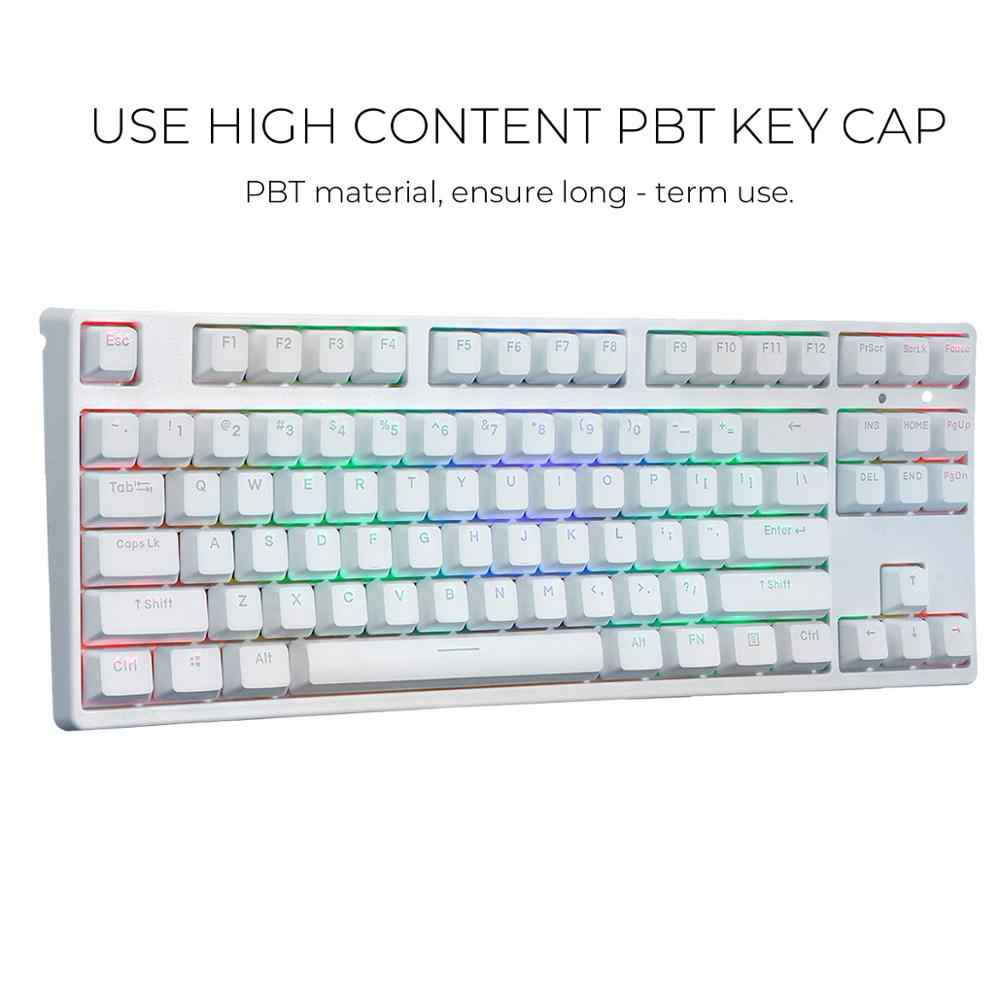 87 Key NKRO USB Wired RGB Backlit Gateron Switch PBT Double Shot Keycaps Mechanical Gaming Keyboard