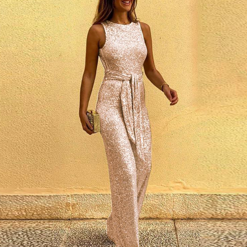 Sequin Shiny Casual Elegant Sleeveless Sexy Jumpsuits Women Trousers Wide Pants 2020 New Rompers Backless With Belt Bodysuit